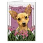 Mothers Day - Pink Tulips - Chihuahua Card