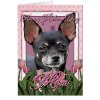 Mothers Day - Pink Tulips - Chihuahua - Isabella Greeting Card