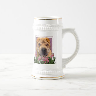 Mothers Day - Pink Tulips - Chinese Shar Pei Beer Steins