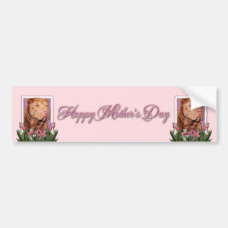 Mothers Day - Pink Tulips - Chinese Shar Pei Lucky Bumper Sticker