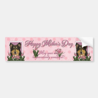 Mothers Day - Pink Tulips - Collie - Caroline Bumper Stickers
