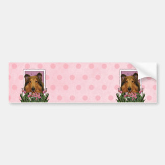 Mothers Day - Pink Tulips - Collie - Natalie Bumper Sticker