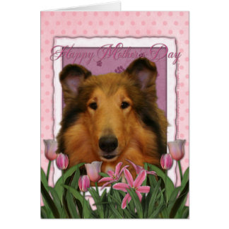 Mothers Day - Pink Tulips - Collie - Natalie Card