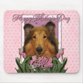 Mothers Day - Pink Tulips - Collie - Natalie Mouse Mat