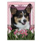 Mothers Day - Pink Tulips - Corgi Card