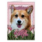 Mothers Day - Pink Tulips - Corgi - Owen Card