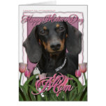 Mothers Day - Pink Tulips - Dachshund - Winston
