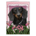 Mothers Day - Pink Tulips - Dachshund - Winston Greeting Cards