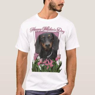 Mothers Day - Pink Tulips - Dachshund - Winston T-Shirt