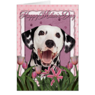 Mothers Day - Pink Tulips - Dalmatian Card
