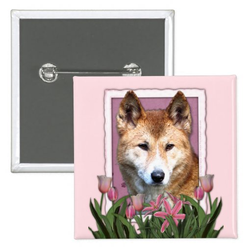 Mothers Day - Pink Tulips - Dingo 15 Cm Square Badge