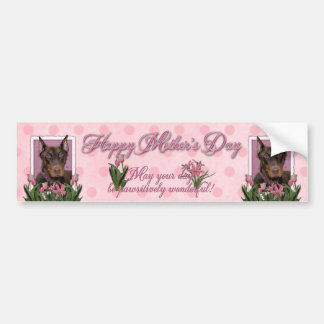 Mothers Day - Pink Tulips - Doberman - Red - Rocky Bumper Stickers