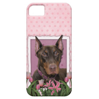 Mothers Day - Pink Tulips - Doberman - Red - Rocky iPhone 5 Case