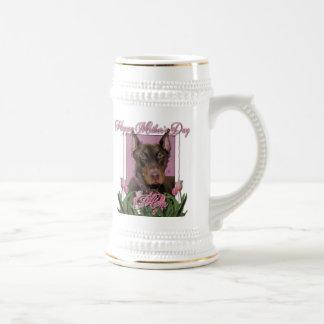 Mothers Day - Pink Tulips - Doberman - Red - Rocky Mug