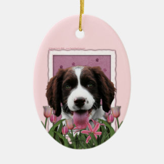 Mothers Day - Pink Tulips English Springer Spaniel Ceramic Oval Decoration