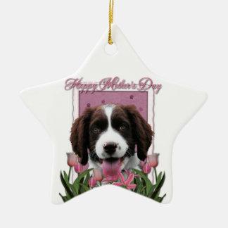 Mothers Day - Pink Tulips English Springer Spaniel Ceramic Star Decoration