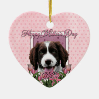 Mothers Day - Pink Tulips English Springer Spaniel Double-Sided Heart Ceramic Christmas Ornament