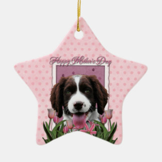 Mothers Day - Pink Tulips English Springer Spaniel Christmas Ornament