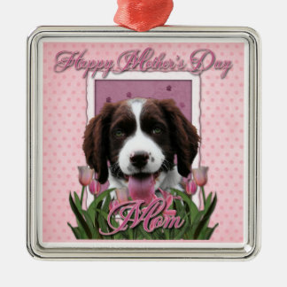 Mothers Day - Pink Tulips English Springer Spaniel Christmas Tree Ornaments