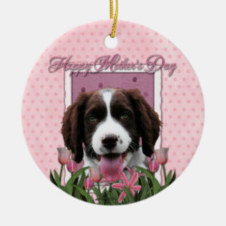 Mothers Day - Pink Tulips English Springer Spaniel Double-Sided Ceramic Round Christmas Ornament