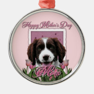 Mothers Day - Pink Tulips English Springer Spaniel Silver-Colored Round Decoration