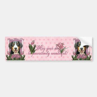 Mothers Day - Pink Tulips Entlebucher Mountain Dog Bumper Sticker