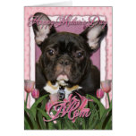 Mothers Day - Pink Tulips - French Bulldog - Teal