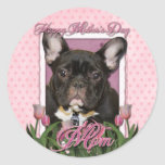 Mothers Day - Pink Tulips - French Bulldog - Teal Round Sticker