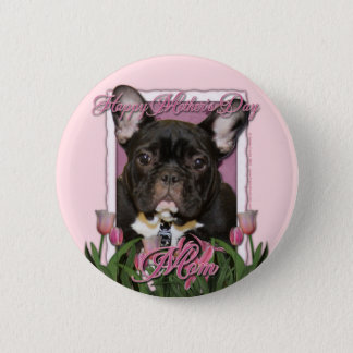 Mothers Day - Pink Tulips - Frenchie - Teal 6 Cm Round Badge