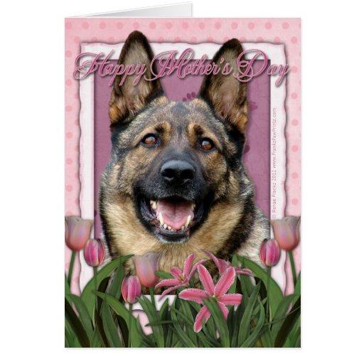 Mothers Day - Pink Tulips - German Shepherd Greeting Cards