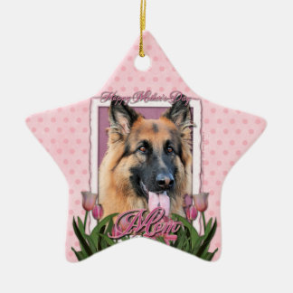 Mothers Day - Pink Tulips - German Shepherd Chance Ornaments