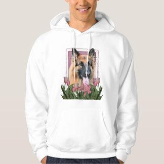 Mothers Day - Pink Tulips - German Shepherd Chance Hoodie