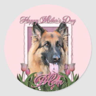 Mothers Day - Pink Tulips - German Shepherd Chance Round Stickers