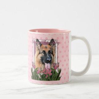Mothers Day - Pink Tulips - German Shepherd Chance Two-Tone Mug