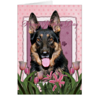 Mothers Day - Pink Tulips - German Shepherd - Kuno Greeting Card