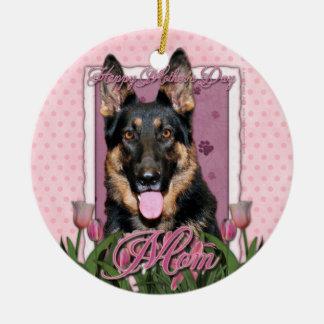 Mothers Day - Pink Tulips - German Shepherd - Kuno Christmas Ornaments