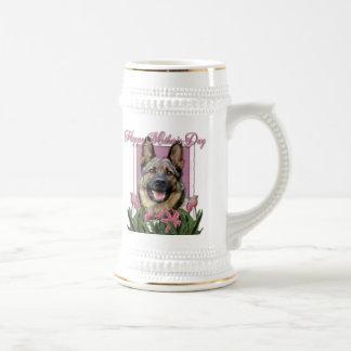 Mothers Day - Pink Tulips - German Shepherd Mugs