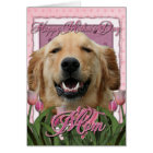 Mothers Day - Pink Tulips - Golden Retriever Card