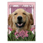 Mothers Day - Pink Tulips - Golden Retriever Cards