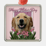 Mothers Day - Pink Tulips -Golden Retriever Mickey Silver-Colored Square Decoration