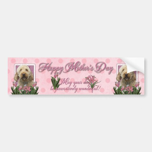 Mothers Day - Pink Tulips - GoldenDoodle Bumper Sticker