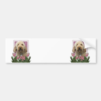 Mothers Day - Pink Tulips - GoldenDoodle Bumper Stickers