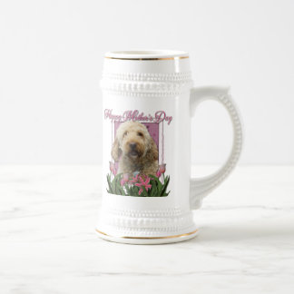 Mothers Day - Pink Tulips - GoldenDoodle Coffee Mug