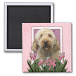 Mothers Day - Pink Tulips - Goldendoodle Square Magnet