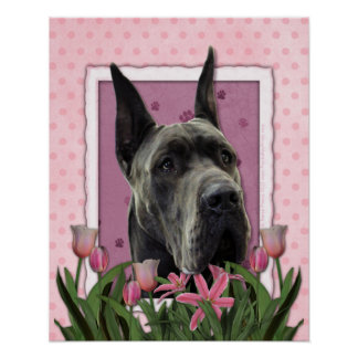 Mothers Day - Pink Tulips - Great Dane - Grey Posters