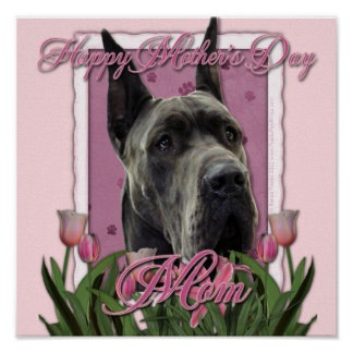 Mothers Day - Pink Tulips - Great Dane - Grey Print