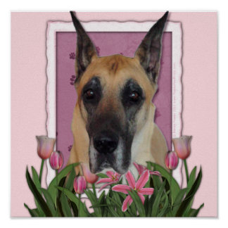 Mothers Day - Pink Tulips - Great Dane Print
