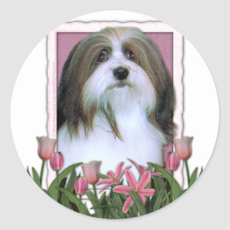 Mothers Day - Pink Tulips - Havanese Classic Round Sticker