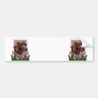 Mothers Day - Pink Tulips - Irish Setter Bumper Stickers
