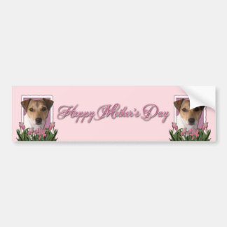 Mothers Day - Pink Tulips - Jack Russell Bumper Sticker